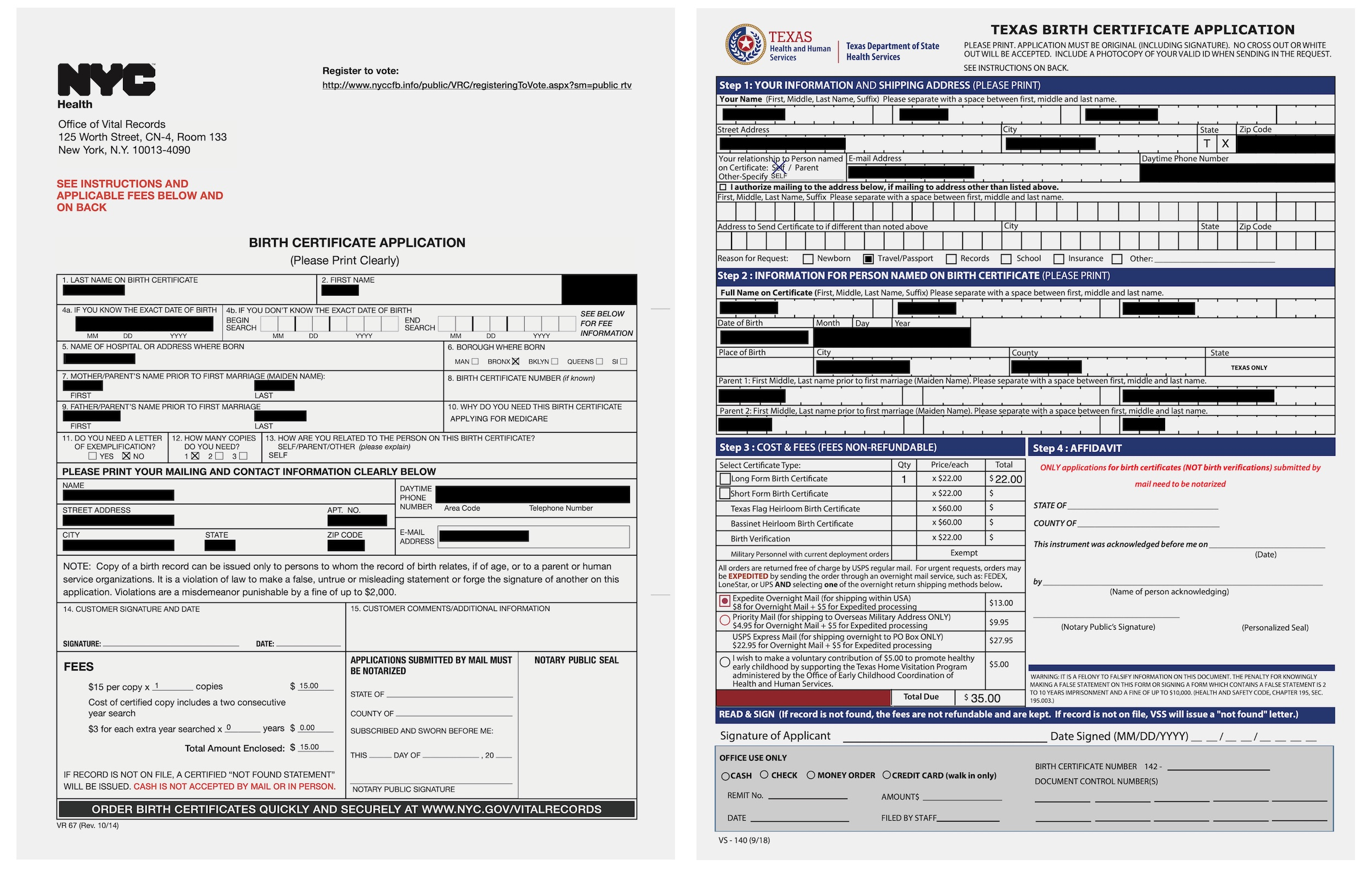 The applications for copies of birth certificates from many U.S. states — including California, New York, and Texas — were left online. (Image: TechCrunch)